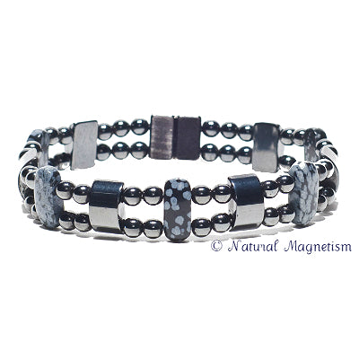 Snowflake Obsidian Double Magnetite Magnetic Anklet