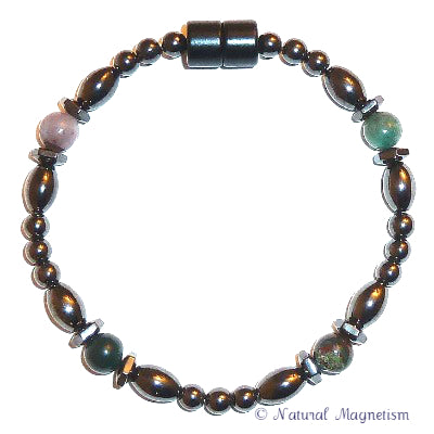Fancy Jasper Hex And Rice Magnetite Magnetic Bracelet