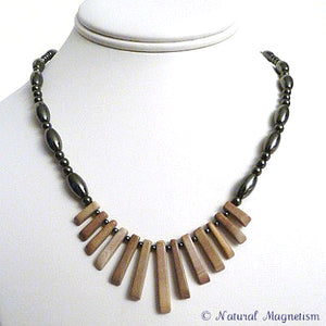 Jasper Gemstone Fan Magnetite Magnetic Necklace