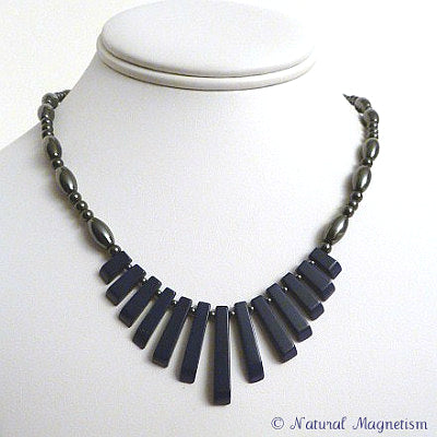 Lapis Lazuli Gemstone Fan Magnetite Magnetic Necklace