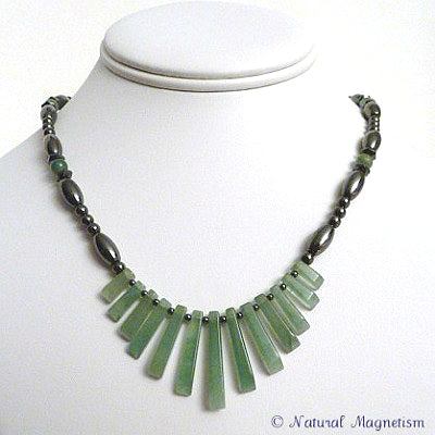 Aventurine Gemstone Fan Magnetite Magnetic Necklace