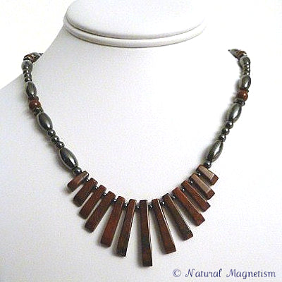 Brecciated Jasper Gemstone Fan Magnetite Magnetic Necklace