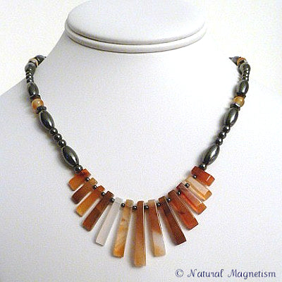 Carnelian Gemstone Fan Magnetite Magnetic Necklace