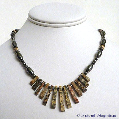 Leopard Skin Jasper Gemstone Fan Magnetite Magnetic Necklace (5x11)