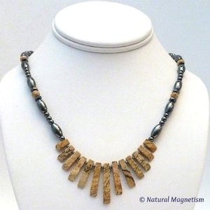 Picture Jasper Gemstone Fan Magnetite Magnetic Necklace