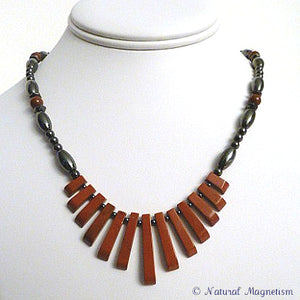 Red Jasper Gemstone Fan Magnetite Magnetic Necklace