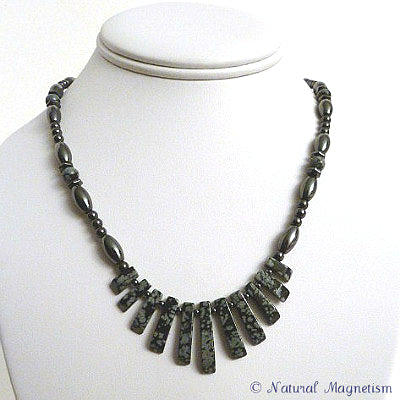 Snowflake Obsidian Gemstone Fan Magnetite Magnetic Necklace