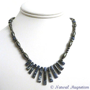 Sodalite Gemstone Fan Magnetite Magnetic Necklace