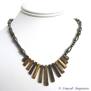 Tiger Eye Gemstone Fan Magnetite Magnetic Necklace