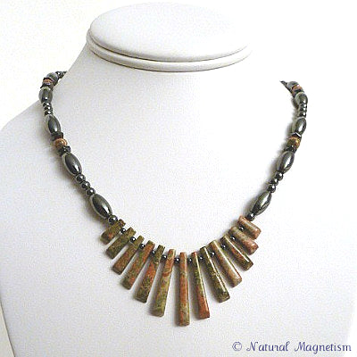 Unakite Gemstone Fan Magnetite Magnetic Necklace