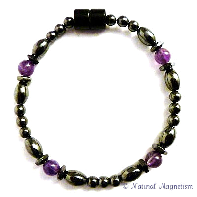Amethyst Hex And Rice Magnetite Magnetic Anklet