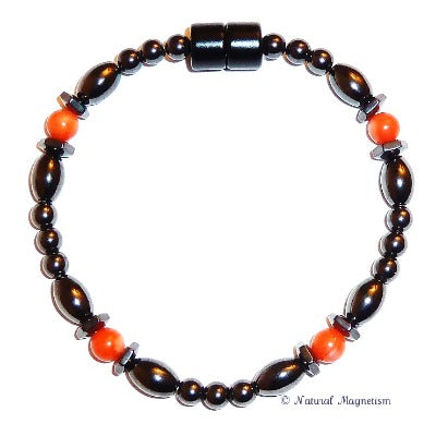 Bamboo Coral Hex And Rice Magnetite Magnetic Anklet
