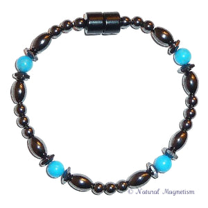 Blue Howlite Hex And Rice Magnetite Magnetic Anklet