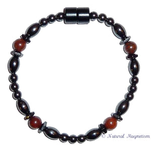 Brecciated Jasper Hex And Rice Magnetite Magnetic Anklet