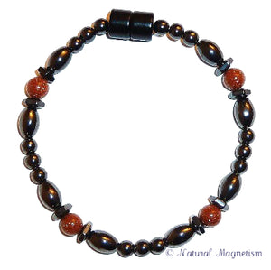 Goldstone Hex And Rice Magnetite Magnetic Anklet