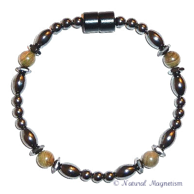 Green Jasper Hex And Rice Magnetite Magnetic Anklet
