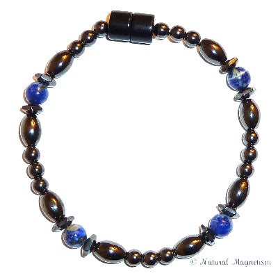 Lapis Lazuli Hex And Rice Magnetite Magnetic Anklet