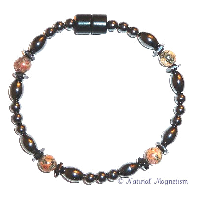 Leopard Skin Jasper Hex And Rice Magnetite Magnetic Anklet