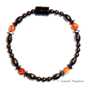 Orange Carnelian Hex And Rice Magnetite Magnetic Anklet