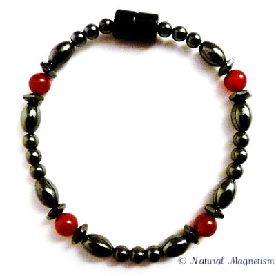 Red Carnelian Hex And Rice Magnetite Magnetic Anklet
