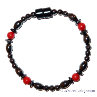 Red Coral Hex And Rice Magnetite Magnetic Anklet