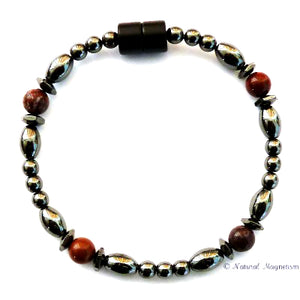 Red Jasper Hex And Rice Magnetite Magnetic Anklet
