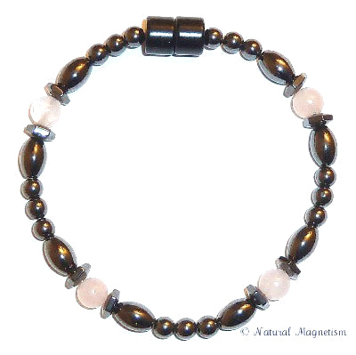 Rose Quartz Hex And Rice Magnetite Magnetic Anklet
