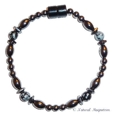 Snowflake Obsidian Hex And Rice Magnetite Magnetic Anklet