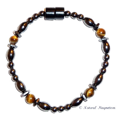 Tiger Eye Hex And Rice Magnetite Magnetic Anklet