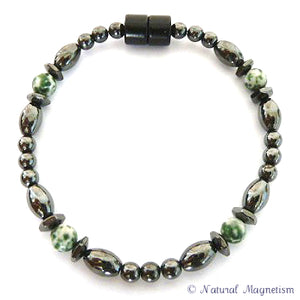 Tree Agate Hex And Rice Magnetite Magnetic Anklet