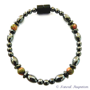 Unakite Hex And Rice Magnetite Magnetic Anklet