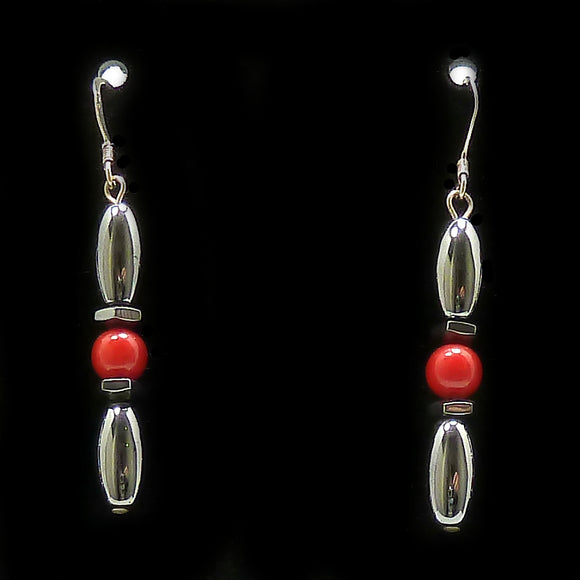Red Coral Hex And Rice Magnetite Magnetic Earrings | Access Possibilities