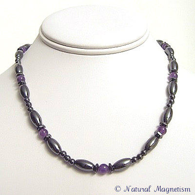 Amethyst Hex And Rice Magnetite Magnetic Necklace
