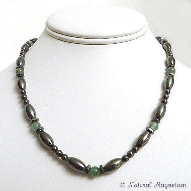 Aventurine Hex And Rice Magnetite Magnetic Necklace