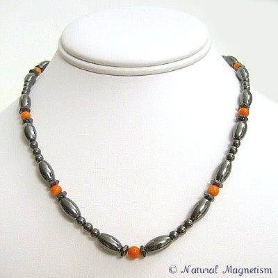 Bamboo Coral Hex And Rice Magnetite Magnetic Necklace