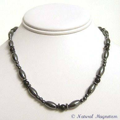 Black Onyx Hex And Rice Magnetite Magnetic Necklace