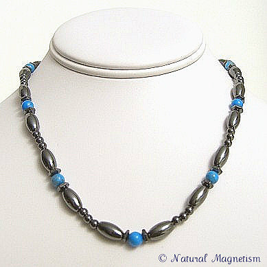 Blue Howlite Hex And Rice Magnetite Magnetic Necklace