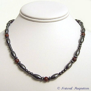 Brecciated Jasper Hex And Rice Magnetite Magnetic Necklace
