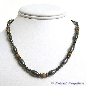 Brown Jasper Hex And Rice Magnetite Magnetic Necklace