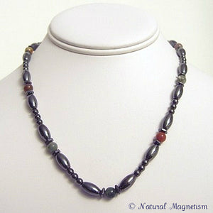 Fancy Jasper Hex And Rice Magnetite Magnetic Necklace