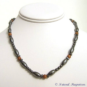 Goldstone Hex And Rice Magnetite Magnetic Necklace