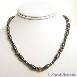 Leopard Skin Jasper Hex And Rice Magnetite Magnetic Necklace