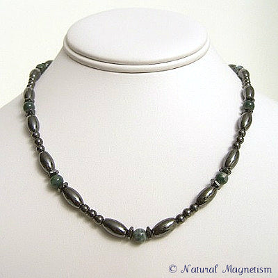 Moss Agate Hex And Rice Magnetite Magnetic Necklace