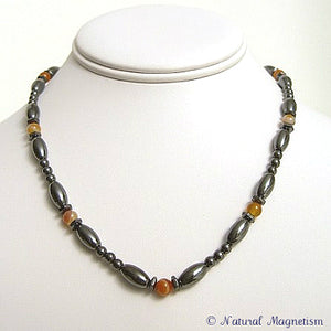Orange Carnelian Hex And Rice Magnetite Magnetic Necklace
