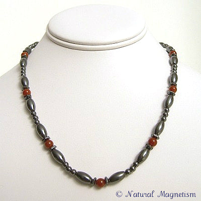 Red Carnelian Hex And Rice Magnetite Magnetic Necklace