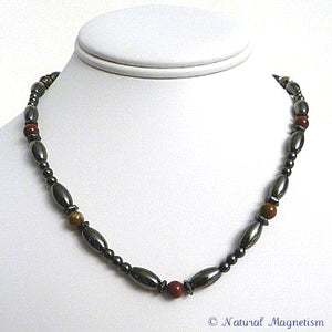 Red Jasper Hex And Rice Magnetite Magnetic Necklace