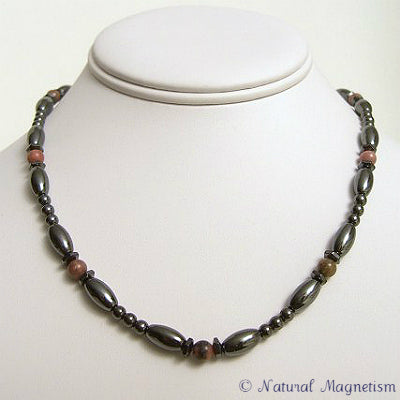 Rhodonite Hex And Rice Magnetite Magnetic Necklace