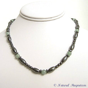 Serpentine Hex And Rice Magnetite Magnetic Necklace