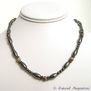 Snakeskin Jasper Hex And Rice Magnetite Magnetic Necklace