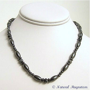 Snowflake Obsidian Hex And Rice Magnetite Magnetic Necklace
